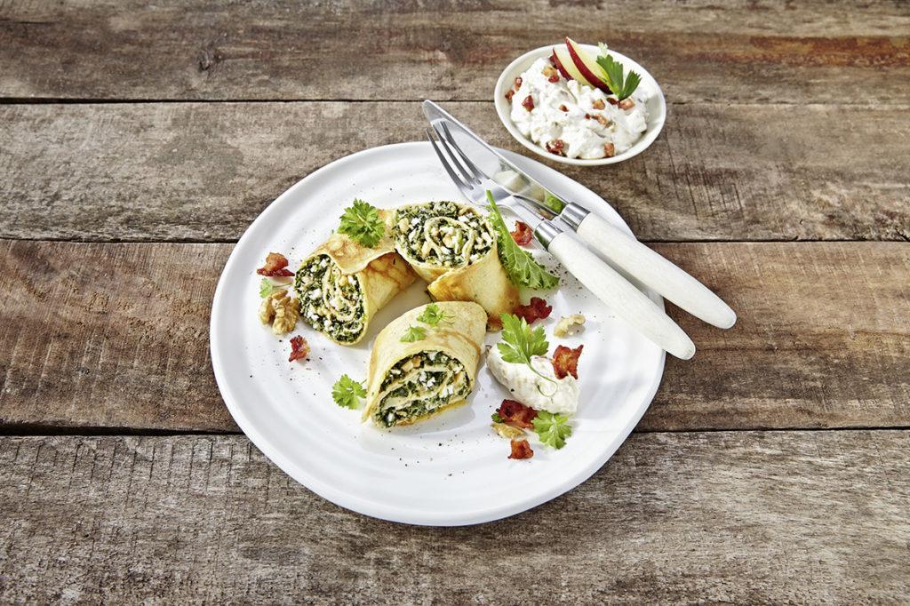 Gefuellte Pfannkuchen mit Grünkohl;