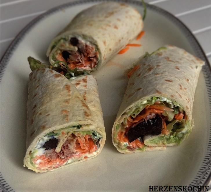 Wraps mit Avocado und Seranoschinken