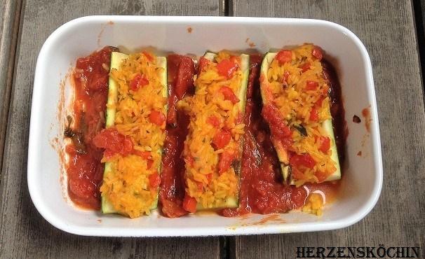 Überbackene Zucchini mit Kurkuma Reis