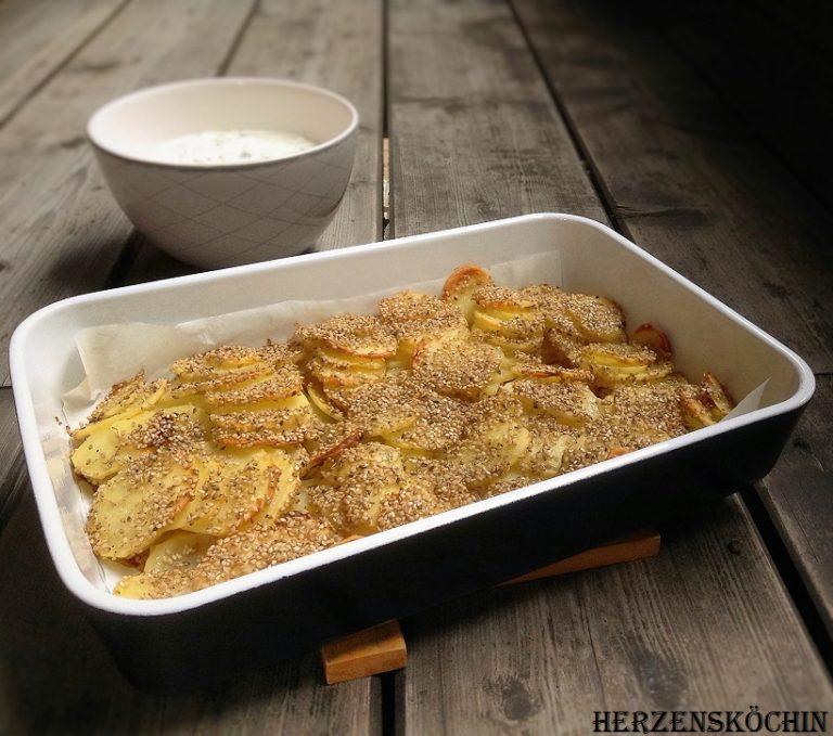 Sesam Kartoffel aus dem Backofen