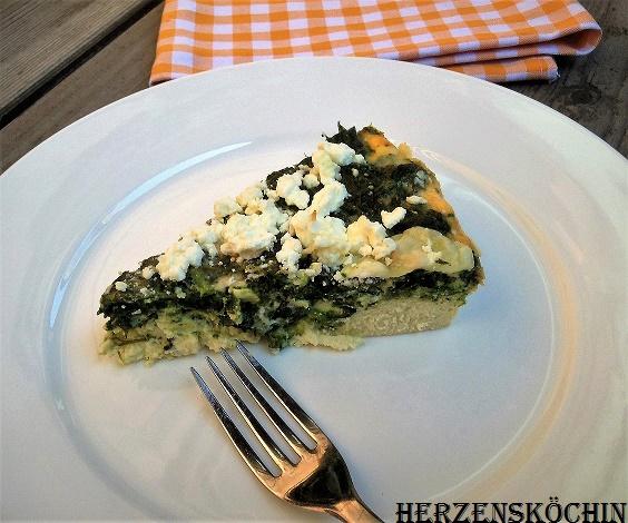 Spinat-Feta-Quiche mit Kichererbsen
